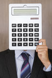 Portrait of an Accountant. Man with a calculator instead of a face royalty free stock images