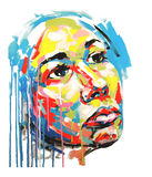 Portrait acrylique de couleur de peinture des femmes Images stock