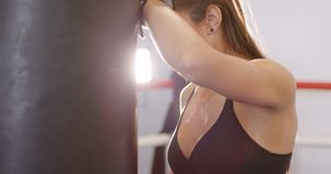 Portrait of dedicated active woman resting after workout at the boxing gym club. Portrait of active and fit female athletic boxer resting with her arms on the stock video