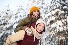 Couple having Fun in Winter royalty free stock photography
