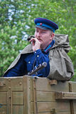 Portrait of actor dressed as Russian Soviet soldier of World War II on Victory Day celebration in Volgograd Stock Photos