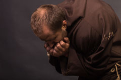 Portrait of the actor in the form of Quasimodo. Theater, stage make-up. Theatrical make-up professionally. Emotional acting Royalty Free Stock Images