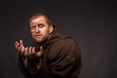 Portrait of the actor in the form of Quasimodo. Theater, stage make-up. Theatrical make-up professionally. Emotional acting Stock Photos