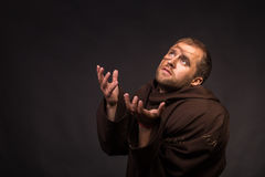 Portrait of the actor in the form of Quasimodo. Theater, stage make-up. Theatrical make-up professionally. Emotional acting Stock Photography
