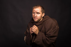 Portrait of the actor in the form of Quasimodo. Theater, stage make-up. Theatrical make-up professionally. Emotional acting Royalty Free Stock Photography