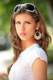 Portrait of the actress. With silver earring Royalty Free Stock Photography
