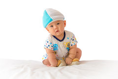 Portrait of adorable baby on the bed in my room Stock Photography