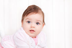 Portrait adorable baby girl. Portrait of cute girl on white background Royalty Free Stock Image