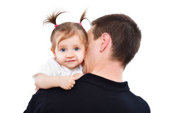 Portrait of adorable baby girl on the hands of father. Isolated on white background Royalty Free Stock Photography