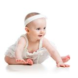 Portrait of adorable baby. Girl isolated on white Stock Photo