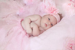 Portrait of adorable baby girl over pink, infant child. Pretty Royalty Free Stock Image