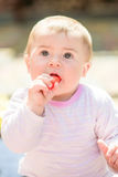 Portrait of adorable baby girl. On a summer sunny day. Outdoor portrait of baby girl Royalty Free Stock Photography