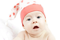 Portrait of adorable baby girl on white background Stock Image