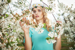 Portrait of an adorable blond nymph Stock Images