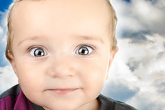 Portrait of adorable blue-eyes baby. Stock Photo