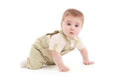 Portrait of adorable blue-eyes baby lying down Stock Photos