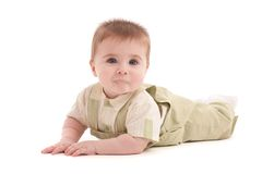 Portrait of adorable blue-eyes baby lying down Stock Photo