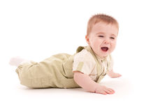 Portrait of adorable blue-eyes baby lying down Stock Image