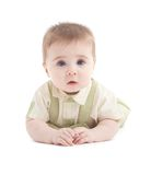 Portrait of adorable blue-eyes baby lying down Stock Photography