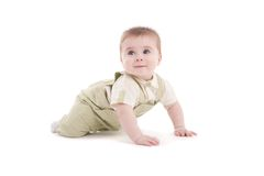 Portrait of adorable blue-eyes baby lying down Royalty Free Stock Photography