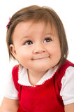 Portrait of adorable brunette baby girl wearing Stock Photos
