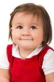 Portrait of adorable brunette baby girl wearing Stock Photo
