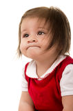 Portrait of adorable brunette baby girl wearing Stock Images