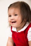 Portrait of adorable brunette baby girl wearing Royalty Free Stock Images