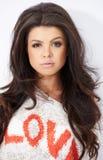 Portrait of adorable brunette girl Stock Photo