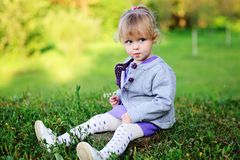 Portrait of adorable child girl walking outdoors Stock Image