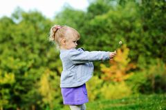 Portrait of adorable child girl walking outdoors Stock Photos