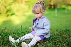 Portrait of adorable child girl walking outdoors Royalty Free Stock Images