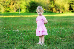 Portrait of adorable child girl walking outdoors Stock Photography