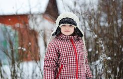 Portrait of adorable child girl in winter clothes Stock Photography