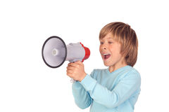 Portrait of adorable child with a megaphone Royalty Free Stock Image