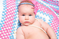 Portrait of adorable cute newborn baby girl Royalty Free Stock Photo