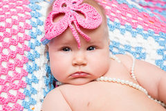Portrait of adorable cute newborn baby girl Royalty Free Stock Photography