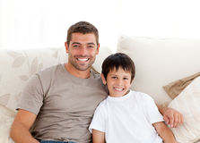 Portrait of adorable father and son Stock Photography