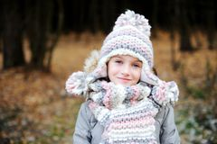 Portrait of adorable girl outdoor in winter park Stock Photography