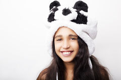 Portrait of a adorable girl in panda hat Royalty Free Stock Image