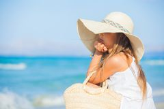 Portrait of adorable girl wearing elegant hat Stock Photo