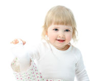 Portrait of adorable happy smiling baby Stock Photo