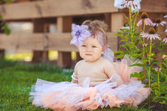 Portrait of adorable infant smiling girl in summer outdoor Royalty Free Stock Photography