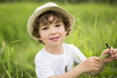 Portrait of adorable kid boy with hat standing on a summer meadow Stock Image