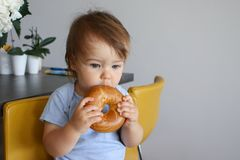 Portrait of adorable little baby boy eating big bagel thoughtfully sitting in the chair at kitchen. Eat and think Royalty Free Stock Photography