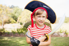 Portrait of adorable little boy pretending to be a pirate Stock Photo