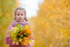 Portrait of adorable little girl outdoors at beautiful warm day with yellow leaf in fall stock images