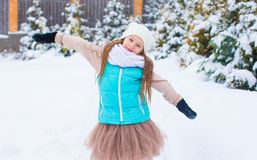 Portrait of adorable little girl outdoors on cold Stock Image