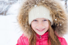 Portrait of adorable little girl outdoors on Stock Image