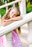 Portrait of adorable little girl in the park Stock Images